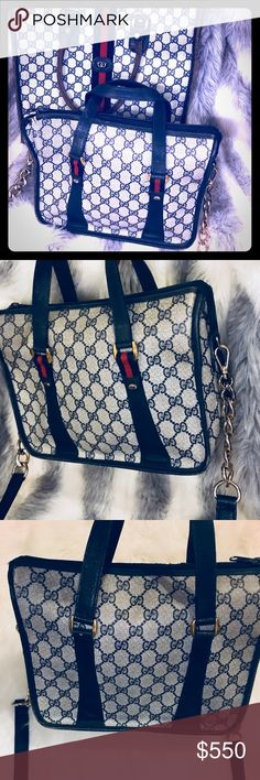 """😍RARE😍Auth Gucci Vintage Cross-Body Bag to Set😍 Extremely RARE Authentic Gucci """"GG"""" Monogram Bag Set😍  Book Bag(for sale in my previous listing). This Gucci Cross-Body Bag features the Gucci """"GG"""" monogram print throughout with gold details- leather. Original vintage piece so normal wear throughout. The matching cross-body gold & leather chain is attached to both sides- I purchased separately- included. My grandmother is the original owner- authenticity guaranteed. Posh also guarantees…"""