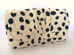 spotty clutch with rouche