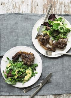 Lamb chops only require a few minutes to cook, so they are a regular evening meal in my house and I love to serve them when friends come over for a casual supper. There are lots of elaborate recipes available but I keep mine simple: grilled and served with a lovely fresh herby green salad.