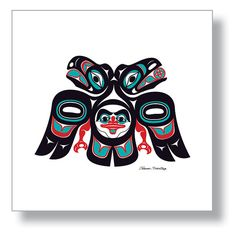 "$150.00 ""Lovebirds"" The unity between Eagle and Raven, 12X12 Giclée Print  Northwest Native American design by Israel Shotridge     #Love #Birds #Lovebirds #Eagle #Raven #Unity #Spirt #NativeArt #Alaska #Tlingit #Giclee #NativeAmerican"