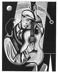 Blind Willie McTell - Relief-block print, The Alcorn Studio & Gallery