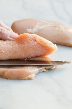 Learn how to butterfly chicken, a simple technique for splitting chicken breasts so they cook quickly or hold a filling. Or, cut them all the way through to make cutlets. Butterflied Chicken, Boneless Skinless Chicken, Chicken Cutlet Recipes, Italian Chicken Recipes, Turkey Recipes, Split Chicken Breast, Chicken Piccata, Chicken Cutlets, Raw Chicken
