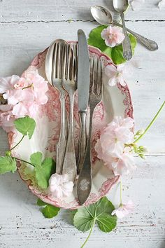 Pink Transferware and Antique Silverware for a lovely display. ~ Mary Walds Vintage Place -  VIBEKE DESIGN