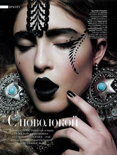 """Goth Looks"" beauty spread Harpers Bazaar Russia (make up by Paul Innis)"