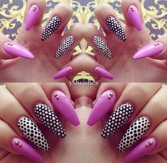 Valentines day pink stiletto nail art #black and white nails #gold nails #bright colors