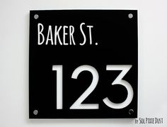 Modern House Numbers, Square Black with Marine Plywood - Contemporary Home Address - Sign Plaque - Door Number