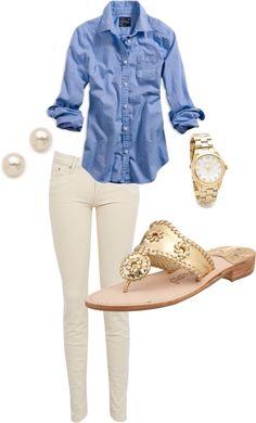 White jeans with denim shirt. so cute