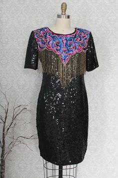 Vintage 1980s Silk + Sequin + Fringe Party Dress
