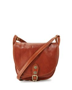 Small+Buckle+Leather+Saddle+Bag,+Cognac+by+Neiman+Marcus+Made+in+Italy+at+Neiman+Marcus+Last+Call.