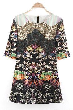 LOVE Vintage Fabric! 3/4 Sleeve Abstract Vintage Print Dress! #vintage #fashion