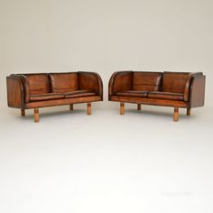 Pair Of Danish Leather Vintage Sofas By Jorgen Gammelgaard