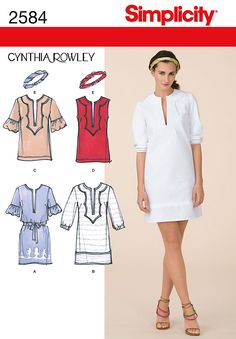 Maybe if i change the sleeves and combine different looks and lengths. Simplicity 2584 Misses' Dresses. Cynthia Rowley Collection  Misses dress, tunic and headband sewing pattern by Cynthia Rowley.