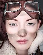 For #steampunk makeup: put on your goggles, take a big makeup brush, and dust or flick brown, grey or black eyeshadow around your face.