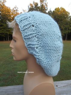 Chunky slouchy hat. Light Blue. Extra chunky winter hat. Unisex slouch hat.  Warm winter hat. 88a70eedaa1d