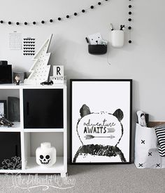Love the Scandi schic monochrome kids bedroom style? You're going to need this must-have shopping list to get the look. black and white kids bedroom, monochrome nursery, modern home. Monochrome Nursery, White Nursery, Nursery Modern, Monochrome Interior, Girls Bedroom, Bedroom Decor, Nursery Decor, Bedroom Ideas, Wall Decor