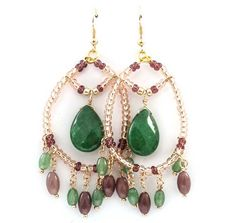 McKayla Chandelier Earrings in Emerald Agate | Awesome Selection of Chic Fashion Jewelry | Emma Stine Limited