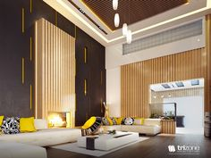 Gorgeous Living Room Design With Yellow Accents - RooHome | Designs & Plans