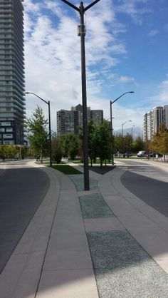 The changing face of Mississauga - a new example of a traffic calming, pedestrian friendly street near Square One.