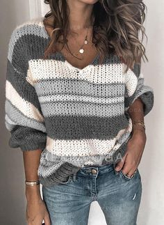 2019 Fashion V-neck Knitted Sweater Women Striped Print Plus Size Tops Pull Femme Casual Autumn Winter Knitwear Sweaters Jumpers Loose Knit Sweaters, Casual Sweaters, Pullover Sweaters, Sweaters For Women, Vogue Knitting, Fall Knitting, Striped Knit, Long Sleeve Sweater, Grey Sweater