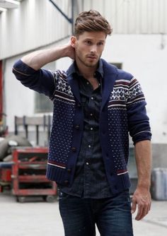 Fair Isle Cardigan, Denim Shirt and Dark Jeans. Men's Fall Winter Fashion