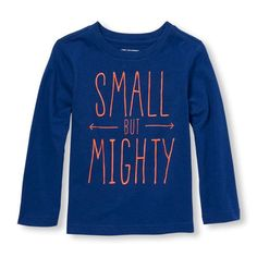 s Toddler Boys Long Sleeve 'Small But Mighty' Graphic Tee - Blue T-Shirt - The Children's Place