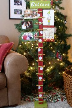 Christmas card holder with base wooden holiday by TheWoodenOwl merry Christmas instead of believe.  $38.00