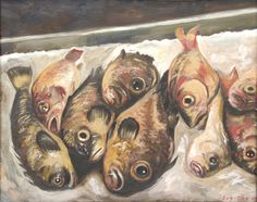 """Sue Coe. Nine Fish with One Eye Each. 2010. Oil on panel. Signed and dated, lower right. 16 3/4"""" x 21"""" (42.5 x 53.3 cm). Reproduced in Cruel. Copyright © 2010 Sue Coe, courtesy Galerie St. Etienne, NY."""