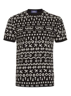 Black all over hand drawn pattern t-shirt with fixed high roll up sleeves.