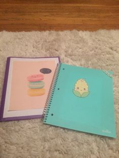 DIY your notebooks and folders with cute pics and some lace!