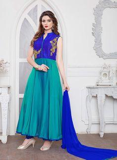 Sky Blue Designer Silk Anarkali Suit  https://www.ranafashions.in/salwar-suits/sky-blue-designer-silk-anarkali-suit-4631.html