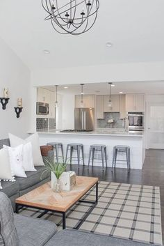 Open Concept Living Room and Kitchen | Open Concept Living Room | Open Concept Kitchen | Shiplap Island | Herringbone TableTop | Neutral Home D�cor Ideas | Lovesac Sactional | White and Gray Kitchen | Modern Farmhouse Decor