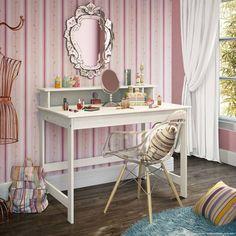 Quem aí é APAIXONADA por penteadeiras levanta a mãão! \o/ \o/ Esse aqui é um modelo lindo e moderninho, adaptado para a decoração do quarto!