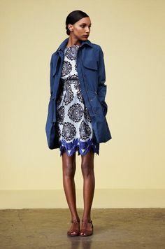 Style inspiration: casual chic (ladylike dress, cargo jacket, flat sandels) (Thakoon pre-spring 2013)