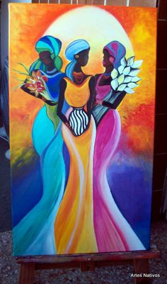 Donde se destacan muchos cuadros modernos baratos, ✅ en los que incluimos multitud de temáticas modernas y que son potencialmente atractivos para los Arte Tribal, Tribal Art, Afrique Art, African Art Paintings, African Artwork, Haitian Art, Afro Art, African American Art, Fabric Painting