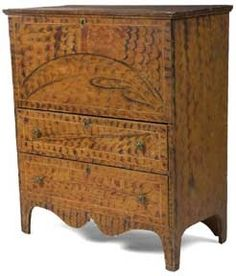 grain painted chest of drawers Colonial Furniture, Primitive Furniture, Primitive Antiques, Country Furniture, Vintage Antiques, Painting Antique Furniture, Art Furniture, Painted Furniture, Blanket Box