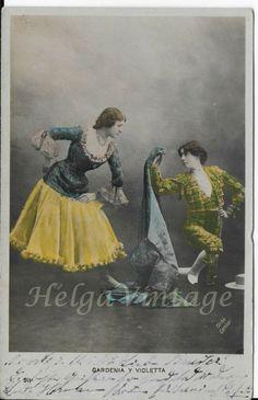 Spanish Art Nouveau tinted photo-postcard Madrid Gardenia&Violetta Cliche Gombau Art Nouveau, Madrid, Spanish Art, Photo Postcards, Violet, Appreciation, Vintage Fashion, People, Photos