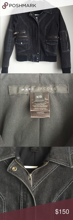 Marc Jacobs Black Jean Zip Motorcycle Jacket Marc Jacobs Black Jean Motorcycle Jacket Sz XS Missing Snap Closure Marc Jacobs Jackets & Coats Jean Jackets