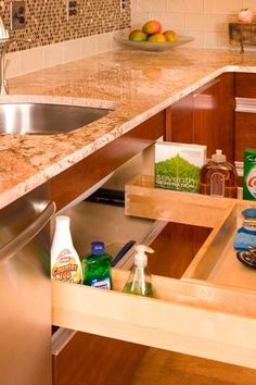 Traditional Kitchen with Ceramic Tile, White Subway Tile 3x6 Glossy, REV-A-SHELF PULL-OUT WOOD DRAWER, simple granite floors