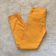 mustard color skinny jeans  Great condition, no stains or rips. 63% cotton, 34% polyester, 3% spandex. Making room in my closets. Smoke and pet free home. SO Pants Skinny