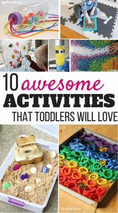 Sensory activities for toddlers: Discover a great list of sensory play ideas that are both fun and educational! You can easily try these ideas with your kids! They are easy to prepare and will keep kids busy for hours! Sensory Activities Toddlers, Sensory Play, Infant Activities, Educational Crafts For Toddlers, Toddler Sensory Bins, Toddler Educational Games, Educational Activities, Toddler Activities For Daycare, Activities For One Year Olds