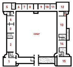 REZ DE CHAUSSEE 1) CHAPELLE. 2) Armes et armures. 3) Histoire du château (CUISINES). 4) Boiseries de Gaillon (CUISINES). 5) Les Héros romains. 6) Bois sculptés: la 1° Renaissance. 7) Bois sculptés: 1550-1650. 8) Petite sculpture. 9) Arts du métal: les plaquettes.10) Mesures du temps et de l'espace. 11) L'atelier d'orfèvrerie et banc d'essai.12) CHAMBRE DE CATHERINE DE MEDICIS. 13) GRANDE SALLE DE LA REINE. 14) Sculptures 15) Restaurant. - Appartement des Bains (sous-sol et rez-de-jardin).