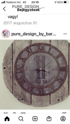 Pallet Clock, Pure Products, Wall, Design, Home Decor, Decoration Home, Room Decor, Walls
