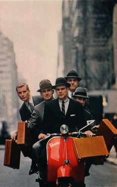 The shared commute to work - leather briefcase and hat  #Vespa