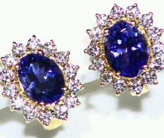 NEW 3.54CT 14K GOLD NATURAL AAA TANZANITE WHITE DIAMOND STUD HALO DROP EARRINGS  #Handmade #Stud