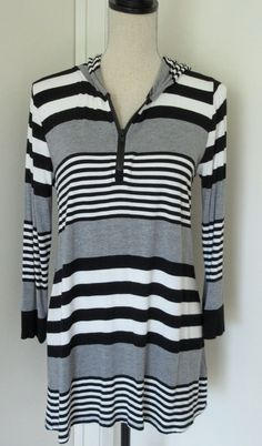 Cable & Gauge Sporty Stripe Tunic Shirt M Womens Hooded Viscose Spandex Zip #CableGauge #Tunic #Casual