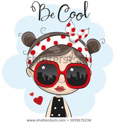 Cartoon Girl with sun glasses. Portrait of Cute Cartoon Girl with sun glasses stock illustration Cartoon Cartoon, Girl Cartoon Characters, Cute Cartoon Girl, Cartoon Girl Images, Cartoon Wallpaper, Cute Images, Cute Pictures, Mode Poster, Happy Paintings