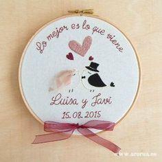 Porta Alianzas Bastidor Bordado a Mano #Embroidery Art Hoop www.arorua.es