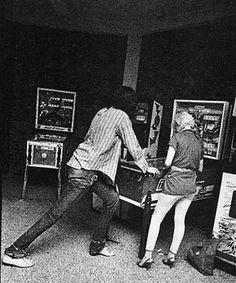 Joey Ramone playing Bally Night Rider pinball. #ramones #punkrock