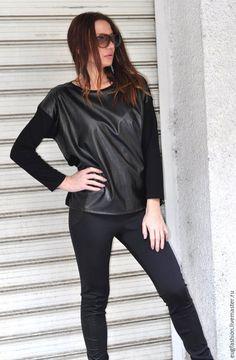 Купить Черная весенняя блузка - черный, однотонный, блузка, блузка женская, блузка из кожи