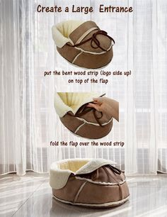 Pet Bed for shoe lovers! Cats love shoes! Dogs love shoes! A shoe shaped pet bed is like a pets dream come true!  Made in Brooklyn New York. This original moccasin pet bed suits small pets up to 10 lbs. Small and medium size cats, Yorkshire, Chihuahua, Maltese, bunny, ferret, hedgehog and alike should be all able to curl up comfortably in this soft bed.  This is our first product and we only made a very small amount. We'd love to hear everything you have to say about it. Feel free to ask us…